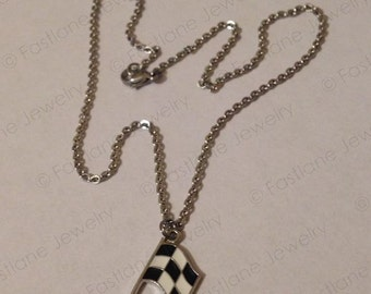 Checkered Flag Charm Necklace- Racing Jewelry by Fastlane Jewelry