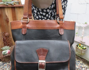 Large Leather Tote Black and Brown Satchel Handbag Bag Purse 1980s 1990s Vintage
