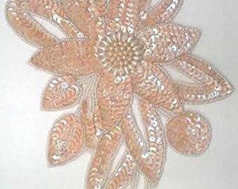 Sequins & Beaded Iridescent Cream Flower (X-Large) Applique