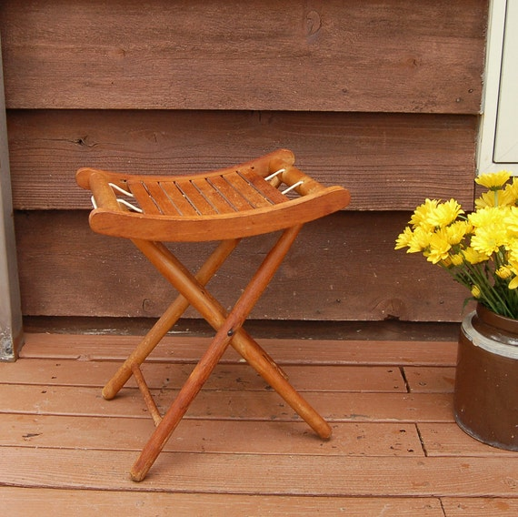 Vintage Camp Stool Wood Folding Stool Rustic Cabin Decor