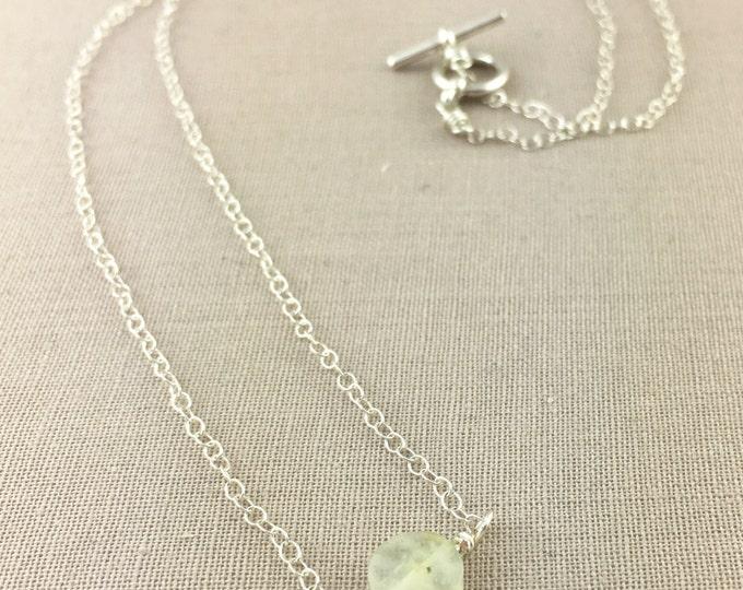 Prehnite Necklace // green gemstone necklace, dainty necklace, delicate necklace, jewelry under 35, layering necklace, bridesmaid gift