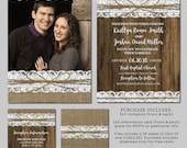 Rustic Wedding Invitation - Burlap, Lace, Wood, Western - Photo PSD Template Announcement - 5x7, 3x3 - Instant Download