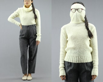 Fitted Fuzzy KnitLong Turtleneck Pullover Jumper Sweater Women's Large 80's Vintage