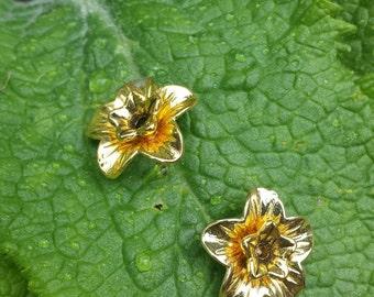 Gold Tone Daffodil Earrings