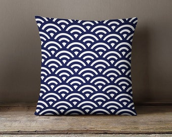 Decorative pillow case, pillow cover, modern cover, blue pillow cover, geometric cushion, blue throw pillow, blue pattern, Japanese pattern