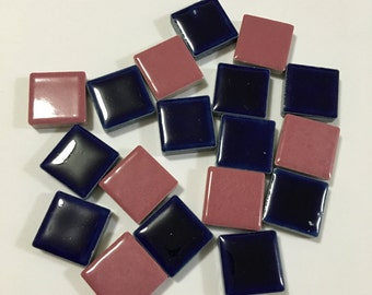 3/4'' Pink and Navy Ceramic Mosaic Tile, Pink and Navy Mosaic Tile, Ceramic Mosaic Tile