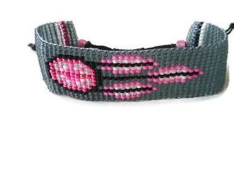 Loom beaded bracelet Dreamcatcher with waxed cord / Native inspired bracelet / Tribal bracelet