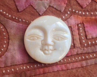 Moon Face Pendant or Cabochon with Open Eyes - Carved Bone - 20 mm - 7/8 Inch