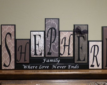 Home Decor Family Room Living Room Decor Family Name Blocks Letters Home Block Letters  wood block mantel personalized Family Name blocks