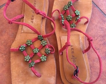 Vintage Naked Feet sandals thongs Red Suede leather green metal flowers flip flops