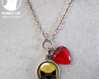 Tiny Black Cat Charm necklace Yellow flowers Black Bombay Peeking Kitty Necklace  Link Chain and Red Heart Bead floral flower small keepsake