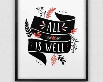 all is well print // positive thinking print // black and red home decor print // inspirational print // folk retro style print