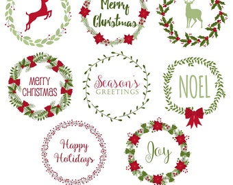 80% OFF SALE Christmas Wreaths Clipart, Christmas Clipart, Digital Wreaths, Wreath Clipart, Wreath Graphics, Printable, Commercial Use