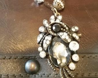 Glitter Swirl Charm Necklace