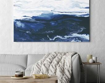 Abstract Art, Canvas Art, Large Canvas Print, Art Print, Abstract Canvas Art, Navy Blue and White, Fluid Art, Home Decor, Wall Art