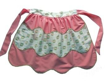 Vintage Apron, Pink Apron, Half Apron, Pink Hostess Apron, Women's Gift, Kitchen Gift, Vintage Clothing