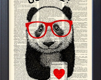 Panda art, coffee break, dictionary book page print poster, mug of coffee, Kitchen office Wall decor, Gift poster, CODE/088