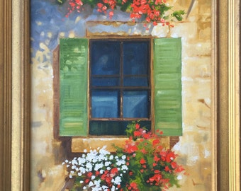 Painting of Rustic Window, Italian Window with Flowers, Tuscany Painting, Provence Painting, Original Art, Rustic Italian Scene