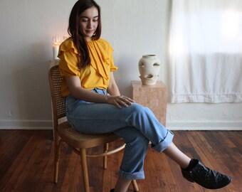 Yellow Ruffle Puffy Shirt - Vintage