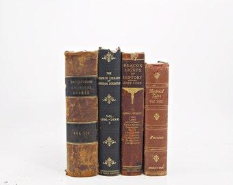 ANTIQUE BOOKS, Leather Books, Burgundy Decorative Books, Black Book Bundle, Office Home Decor, Centerpiece, Old Book Decor Interior Design