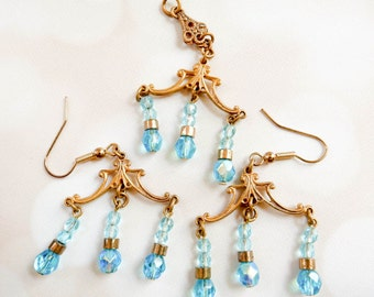 Vintage Art Deco Jewelry Set - Blue Crystal Pendant and Chandelier Earrings - Aurora Borealis Jewelry - Boho Gift For Her - Hippie Jewelry