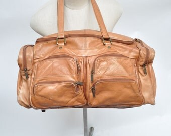vintage leather bag CARRY ON weekender luggage suitcase travel duffel duffle tote