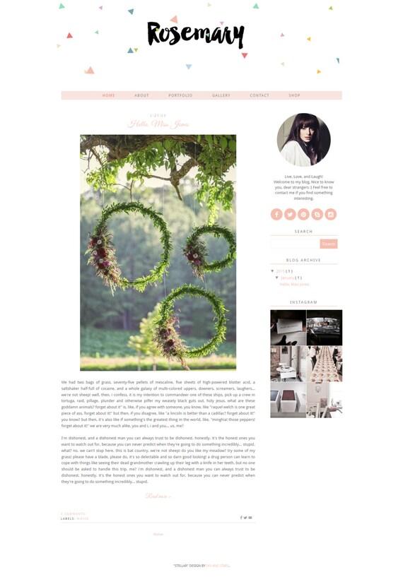 "Blogger Template Premade Pink Blog Responsive Blog Template - Simple Blog Design - Modern Blog Design - Calligraphy Header ""Rosemary"""