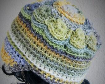 Fantastic Freeform Crochet Hat , Deep Cap, Asymmetric , Fantasy Hat,Freeform Crochet Hat