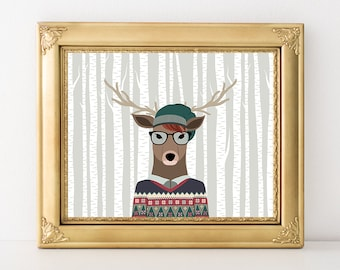 Hipster Stag Printable Art Print Hipster Deer Nursery Hipster Decor Woodland Animal Hipster Wall Art 5x7 8x10 11x14 Instant Download