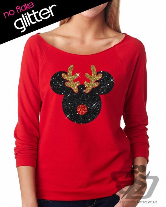 disney shirt glitter christmas rudolph mickey      lightweight