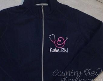 Women's stethoscope fleece jacket- Nurse RN with heart shaped stethoscope