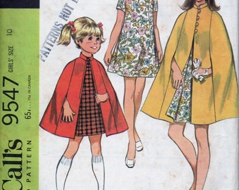Vintage McCall's Pattern 9547 for Girls' Cape and Dress