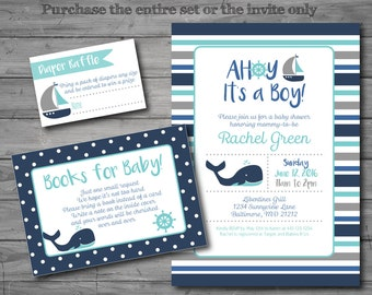 PRINTED, Nautical Baby Shower Invitation, nautical baby shower invite, whale, baby boy, books for baby, diaper raffle, book request