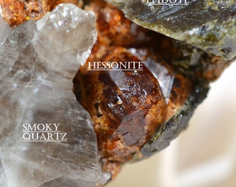 Hessonite, Epidote, and Smoky Quartz - Red-Orange Hessonite Garnets with Smoky Quartz and Epidote Crystals, from Czech Republic