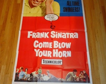 Original R1966 Come Blow Your Horn Three Sheet Movie Poster Frank Sinatra, Rat Pack,