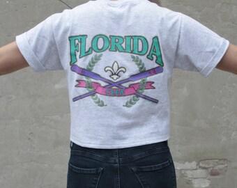 Florida Crop Top Tshirt Retro