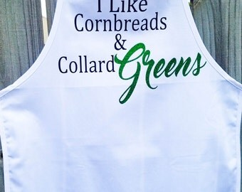 Cornbreads & Collard Greens Apron, Funny Apron, Chef Gift, Gift for Mom, Grandma Apron, Southern Cooking, Soul Food