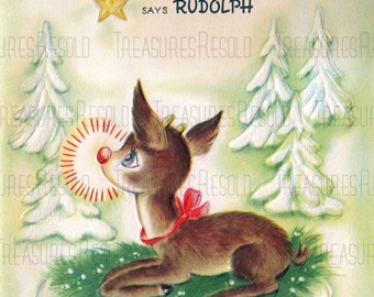 Merry Christmas From Rudolph Reindeer Card #541 Digital Download