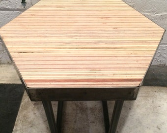 Hexagon End Table with Plywood Pieced Top Detail and Steel base