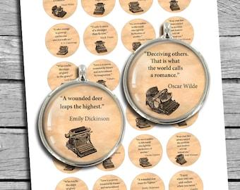 "Literature Quotes 1.5"" 1""  Round images Bottle caps Printable Digital Collage Sheet"