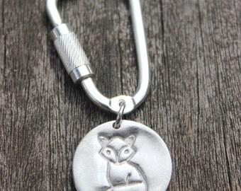 Silver fox keychain, silver fox keyring, fox lover gift, silver fox key chain, silver fox key ring, fox lover gift