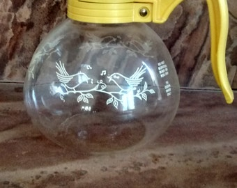 Vintage Cory whistling love birds glass tea kettle. mid century collectable glass tea pot