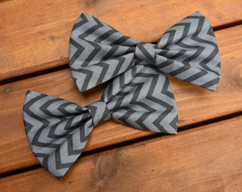 Gray Chevron Bow Tie, Chevron Bow Tie, Dog Bow Tie, Bow Tie, Pet Accessories