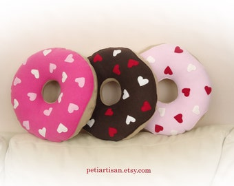Donut Pillow, Valentine Donut Pillow, Heart Donut Pillow, Food Pillow, Doughnut Pillow, Toy Pillow, 3D Pillow