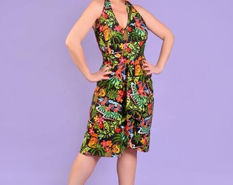 Hawaiian Dress Tropical Dress Hibiscus Flower Dress Pin Up