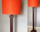 """Missionesque wood floor lamp base in """"Espresso"""" without shade includes LED bulb and free shipping to lower 48 states."""