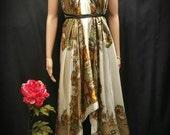 Satin Scarf Dress, White & Gold Paisley Print Multi-wearing Satin Scarf Dress, Asymmetrical Hem Summer Dress, Handmade Hankerchief Dress