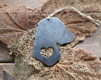 Labrador Retriever Ornament Rustic Raw Steel Christmas Metal Dog Heart Christmas Tree Decoration Holiday Gift Industrial Decor Wedding
