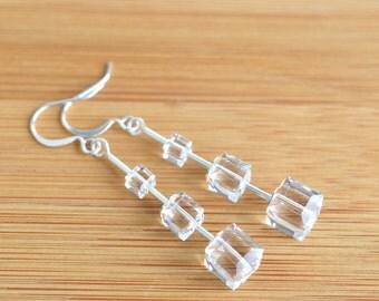 Modern bridal crystal earrings, Swarovski crystal modern jewelry, urban style linear earrings, square crystal dangle earrings, clear jewelry