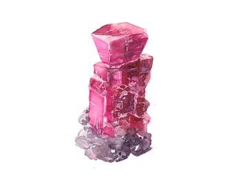 July Ruby Watercolor Print - Birthstone - Trendy Birthday Gifts